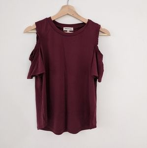 Burgundy T with Bare Shoulders